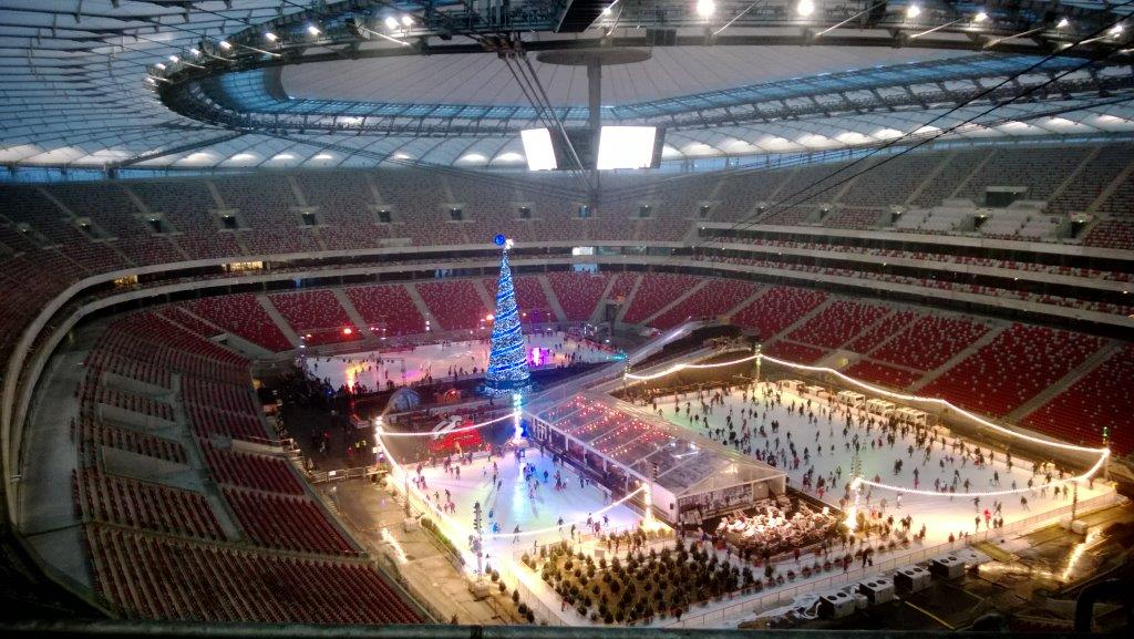 this is a picture of ice rinks at the National Stadium of Warsaw